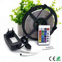 Wholesale Led Tape 3528 Waterproof - Strip IP65 Waterproof 5M RGB LED Strip light 300led 2835 SMD lamp Tape + 2A DC12V Power Adapter + Remoter controllor For Home lighting CE