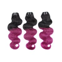 Wholesale Brazilian Hair 16 - Ombre Purple Real Brazilian Hair Virgin Unprocessed Body Wave Full Head Human Hair Extensions for Cheap 3 Pieces lot 33-16