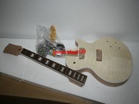 Custom Shop Mahagoni Korpus Unvollendete E-Gitarre Kit mit Flamed Maple Top mit Hardware
