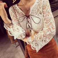 Wholesale Crochet Shirts For Women - 2016 Fashion Blouse Shirt For Women Trendy Hollow Out Crochet Top Outfits Smock Lady Clothing Store Blusa Femininas E265