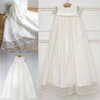 Wholesale Girls Long Net Gown - Delicate Appliques Ivory Flowers Christening Dresses For Baby Girls Jewel Neck Sleeves Net Edge Baptism Dress Long Communion Gowns