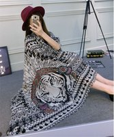 Wholesale Tiger Head Scarf - New Spring Summer Cotton Pashmina Oversize Womens Beach Shawl Vintage Ethnic Tiger Head Scarf 180cm Long Stole Ladies Warm Wrap