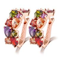 boucles d'oreilles clip achat en gros de-Swarovski éléments colorés zircon cristal oreille clip somptueux dîner cooper alliage stud boucles d'oreilles femmes fille top qualité bijoux cadeau