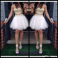 Wholesale Special Occasion Mini Dress - Gold and White 2 Piece Homecoming Dresses Beaded Straps Short Prom Party Gowns Special Occasion Wear Vestidos 15 Anos Plus Size
