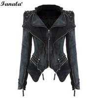 Wholesale Casual Tuxedo Jackets Women - Wholesale- FANALA Women Denim Jacket Power Studded Shoulder Notched Lapel Plus Size Denim Jeans Tuxedo Coat Jackets M1420