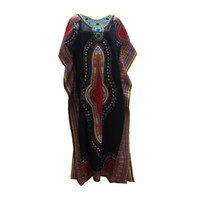 Wholesale African Fabrics Yellow - Dashikiage 6 color Autumn African Tribe Dashiki fabric Vintage Dresses Appliques Loose Long Maxi Dress