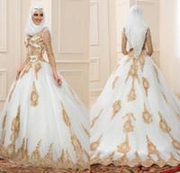 müslüman altın gelinlik toptan satış-Altın Dantel Ile İnanılmaz Beyaz Gelinlik Uzun Kollu Müslüman Gelinlikler 2016 Son Tasarım Vestidos De Boda Artı Boyutu