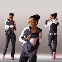 Wholesale Ladies Costume Set - 2017 Ladies Jogging Suits Love Letter vs Print Sport Suit Hoodies Sweatshirt +Pant Women Tracksuits Sportswear Costume Mujer 2 Piece set