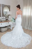 Wholesale Mermaid Skirts - 2016 Vintage Lace Mermaid Wedding Dresses Cheap Sexy Srtapless Illusion Lace Appliques White Bridal Gowns Tiered Sheer Skirts Wedding Gowns
