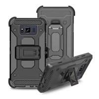 Wholesale Iphone Hard Case Holster Clip - Case With Clip Belt For Galaxy Note 8 S8 Active S9 Iphone X 8 7 6 5 Plus Holster Shockproof Armor Rugged Hybrid Hard PC+TPU Cover Heavy Duty