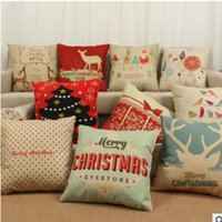 Wholesale Thick Sofa Cushion - Christmas Elk Cotton Pillowcases Christmas Tree Pattern Printing Pillow Case Office Sofa, Automobile Printing Thick Cushion Cover WL06
