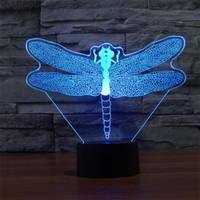 kirigami partei großhandel-3D-LED-Nachtlicht-bunte Atmosphären-Lampe Neuheit-Beleuchtung Lampe mit Noten-Knopf Kirigami-Libelle-Form mit USB-Linie