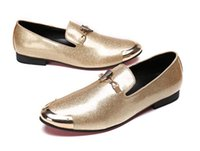 Wholesale Gold Head Dress - New Luxury Men Retro pointed glitter Metal head leather shoes Wedding Flats Male Dress Homecoming Prom Formal shoes plus size