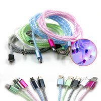 Wholesale Iphone Charging Cable Led - Multicolor LED Lighting USB Charging Cables 1M Micro Cables Cord Data Sync For Android Smart Phone Free Shipping with DHL