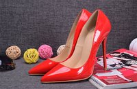 Wholesale Spike Heel Wedges - The Red Paint Super Fine Root with Spikes Red Bottom High Heels Women Shoes 12cm High Heel Ladies Female Shoes Footwear Pumps
