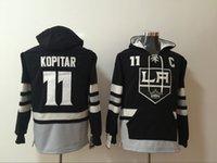 anze kopitar hoodies großhandel-Los Angeles Könige 11 Anze Kopitar LA Hockey Jersey schwarzer Hoodie Pullover Sweatshirts Winterjacke Top Qualität! 100% genäht