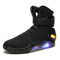 Wholesale Black Leather Top Working Shoes - Air Mag Sneakers Marty Sneakers LED Shoes Back To The Future Glow In The Dark Gray Black Mag Marty McFlys Sneakers With Box Top quality