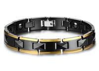 energie armband keramik großhandel-Magnetisches Armband für Männer Energy Healthy Black Ceramics Edelstahlkette Modeschmuck 10mm Therapie Balance und Energie Armband B874S