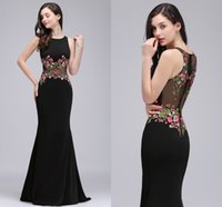 Wholesale Long Sleeve Evening Dresses Online - 2018 New Real Photo Black Mermaid Formal Evening Dresses with Embroidery Appliques Jewel Neck Illusion Waist Back Prom Dresses Online CPS716