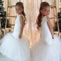 Wholesale Cheap Baby Girls Pageant Dresses - White Mermaid Flower Girl Dresses 2018 Lace Appliques Backless Girls Pageant Gowns Wedding Baby Birthday Party Dress Cheap