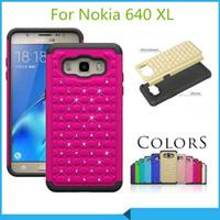 Wholesale Lumia Bling - Luxury bling case Armor Hybrid Diamond Case Cover For Nokia MicrosoftLumia435 950 XL 640 XL 430 640 Lumia 735 530