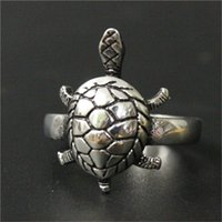 Wholesale Tortoise Ring Gold - 3pcs lot Wholesale Silver Cute Animal Tortoise Unisex Ring 316L Stainless Steel Fashion jewelry Tortoise Ring