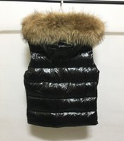 Wholesale Down Vest Fur Collar - M31 Brand 100% real raccoon fur collar hood Duck Down Vest Women Fashion Outwear Coats