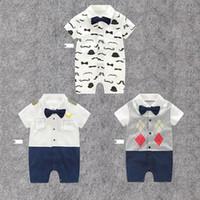 Wholesale baby mustache clothes resale online - RMY22 NEW Design infant Kids mustache Print Cotton Cool short sleeve Romper baby Climb clothing boy Romper free ship