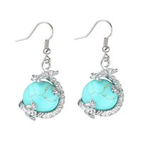 YYW Naturel Pierres Cristal Quartz Opale Boule Dangle Boucles D'oreilles Bijoux Argent-couleur Dragon Charmes Drop Earring