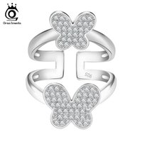Wholesale China Jewelry Butterfly Ring - ORSA New Fashion Brand Double Butterflies Ring Platinum Plated Cubic Zircon Paved Wedding Ring Jewelry OR63