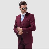 Wholesale Groomsmen Purple Vest Black Suit - Wholesale-Custom Made One Button Burgundy Groom Tuxedos Groomsmen Mens Wedding Suits Prom Bridegroom (Jacket+Pants+Vest+Tie) NO:791