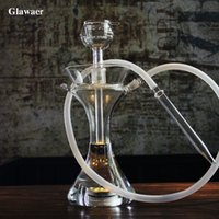 Wholesale Big Glass Vases - Glawaer new grace vase style glass hookahs shishas make big smoke with double layers glass bowl clear small chicha narguile glass bongs