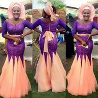 cor de pêssego vestido de baile venda por atacado-Modest Nigeriano Vestidos de Noite Plus Size Sereia Colher Pescoço Fora do Ombro Meia Mangas Roxo Lace Peach Cor Sash Saia Prom vestido