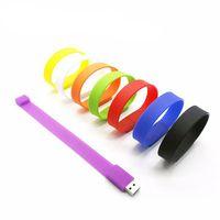 Wholesale Usb Drives Bracelets - Promotional Gift PVC Barcelet USB Flash Drive Memory Stick 1GB 2GB 4GB 8GB 16GB Silicone Wristband PenDrives