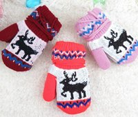 Wholesale Babies Knitted Mittens - Children's Christmas Winter Mittens Kids Baby Gloves Boys Girls Knitted Mittens Gloves Crochet Warm Mittens 6styles