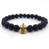 Wholesale 8mm cz bracelet for sale - Naiqube New Fashion Men Bracelet Pave Cz Warrior Helmet mm Lava Stone Strand Bracelets Jewelry Pulsera Hombres