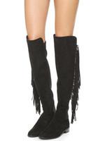 5b70d653a72b2 Nuove vendite sexy donne inverno ginocchio stivali alti frange nero rosso  signora moda nappa scarpe tacco nappa sopra i bottini donna