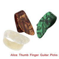 Wholesale Celluloid Finger Picks - 3pcs set Finger Thumb Guitar Picks Giutar Plectrums Celluloid Material Alice AP-3N Guitar Parts & Accessories Top Quality