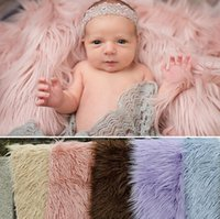 Wholesale Basket Newborn - 150cm*1m Newborn Photography Props Blankets,Soft Plush Baby Blanket Basket Stuffer,Faux Fur Fotografia Background