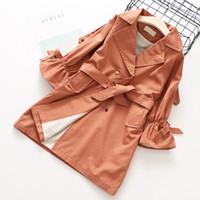 Wholesale Girls Winter Jacket Belt - Everweekend Girls Western Belts Trench Jackets Outwears Ruffles Candy Beige Orange Gray Color Autumn Winter Coats