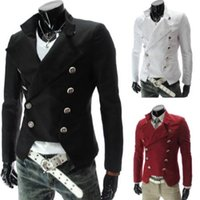 Wholesale Long Sleeve Red Formal For Men - Autumn Winter Casual Marque Blazer Denim Male Clothing Formal Slimming Suit for Mens Double Breasted Jacket & Coat Steampunk