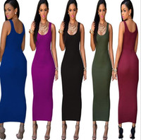 Wholesale Bodycon Dress Wholesale - 2016 Summer Sexy Square Neck pencil Dress Ladies Long A line Bodycon backless women Casual Dress street dresses