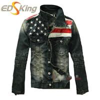 alte motorradjacken großhandel-Großhandels-neue Jeansjacke der amerikanischen Flagge für Männer Mode-Motorradjeans-kurze Jacke tun alten Jeansdenimmantel