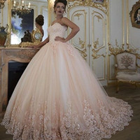 Wholesale Vintage Floral Corset - Vintage Arabic Wedding Dresses Bridal Gowns Turkey Lace Bling Beaded Tulle Sweetheart Corset Back Puffy Plus Size Ball Gown