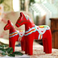 Carved carved wooden horse - european style vivid cute little red horse desktop decoration wooden ornaments wooden Trojan animal ornaments desk decoration