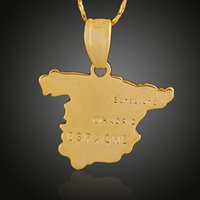 spain jewellery - Spain Espana Map Copper Brass Pendant K Gold Plated Statement Charms Making Necklace Hanging Jewellery Special Promotion Gift for People