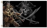 Wholesale Pirate Price - Wholesale Free Shipping 90*150cm 3x5ft 100D Polyester Low Price Cool Decoration Skeleton Zombie Pirate Skull Flag