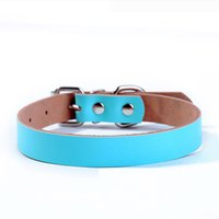 Wholesale Wholesale Genuine Leather Dog Collar - 2016 Hot Leather Dog Collars Luxury Genuine Leather Plain Pet Dog Collar Blue Pink JL-QS028 free shipping