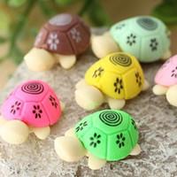 Wholesale eraser turtles resale online - Material Escolar pair Cute Turtle Rubber Pencil Eraser Set Various Color Stationery Student Rewards K6188