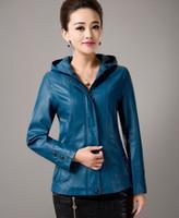 Wholesale Ladies Hooded Leather Jacket - Wholesale-Faux leather jacket women long sleeve fashion leather coat high quality ladies clothing leather with hooded plus size M-5XL coat